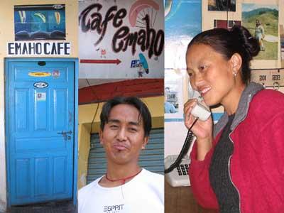 Folge den Schildern ins Emaho Cafe - Tsering Gyaltsen und Tashi Lhamo heissen dich willkommen